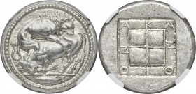 MACEDON. Acanthus. Ca. 470-430 BC. AR tetradrachm (29mm, 17.32 gm, 6h). NGC MS S 5/5 - 4/5, Fine Style. Lion springing right, biting into hind quarter...