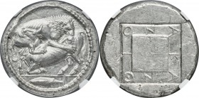 MACEDON. Acanthus. Ca. 470-430 BC. AR tetradrachm (27mm, 17.33 gm, 9h). NGC Choice AU 5/5 - 4/5, Fine Style. Di-, magistrate. Lion springing right, bi...