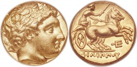 MACEDONIAN KINGDOM. Philip II (359-336 BC). AV stater (16mm, 8.70 gm, 6h). ANACS AU 55. Late lifetime-early posthumous issue of Pella, ca. 340-328 BC....