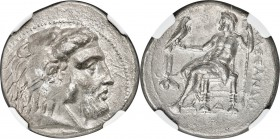 MACEDONIAN KINGDOM. Alexander III the Great (336-323 BC). AR tetradrachm (27mm, 16.99 gm, 12h). NGC XF 4/5 - 2/5, gouges. Early Ptolemaic issue of Mem...