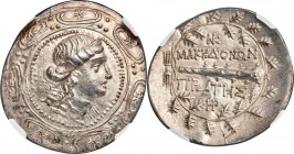 MACEDON UNDER ROME. First Meris. Ca. 167-149 BC. AR tetradrachm (36mm, 16.45 gm, 3h). NGC Choice AU S 4/5 - 4/5. Diademed and draped bust of Artemis r...