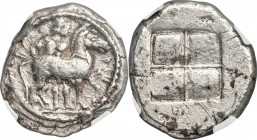 THRACO-MACEDONIAN TRIBES. The Bisaltae. Ca. 480-465 BC. AR octodrachm (31mm, 28.88 gm). NGC Choice VF 4/5 - 3/5. BΙ-Σ-ΑΛTIKO-N, bridled horse prancing...