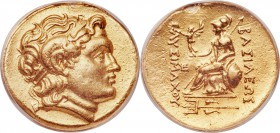 THRACIAN KINGDOM. Lysimachus (305-281 BC). AV stater (21mm, 12h). ANACS EF 40, mount removed. Posthumous issue of Byzantium, ca. 210-195 BC. Diademed ...