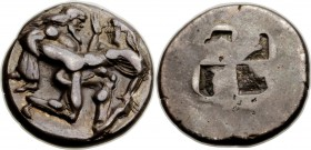 THRACIAN ISLANDS. Thasos. Ca. 500-450 BC. AR stater (21mm, 9.11 gm). NGC XF 5/5 - 4/5. Nude ithyphallic satyr running right, carrying struggling nymph...