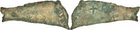SCYTHIA. Olbia. Ca. 437-410 BC. Cast AE dolphin (98mm, 90.05 gm). Fine. Dolphin leaping right, with defined central spine and four vertical lines, cir...