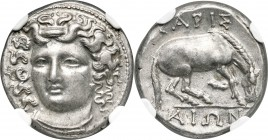 THESSALY. Larissa. Ca. 356-342 BC. AR drachm (18mm, 6.07 gm, 5h). NGC Choice AU S 5/5 - 5/5, Fine Style. Head of nymph Larissa facing slightly left, w...