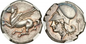 ACARNANIA. Leucas. Ca. 454-404 BC. AR stater (20mm, 8.51 gm, 6h). NGC Choice XF S 5/5 - 4/5. Pegasus with pointed wing flying left, Λ below / Head of ...