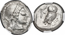 ATTICA. Athens. Ca. 510/500-480 BC. AR tetradrachm (22mm, 16.16 gm, 5h). NGC XF 4/5 - 4/5. Light weight specimen. Head of Athena right, wearing creste...