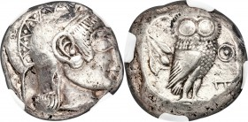 ATTICA. Athens. Ca. 510/500-480 BC. AR tetradrachm (21mm, 17.33 gm, 9h). NGC XF 3/5 - 3/5, brushed. Head of Athena right, wearing crested Attic helmet...
