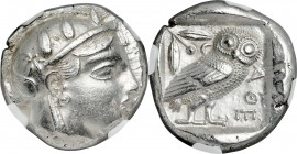 ATTICA. Athens. Ca. 465-455 BC. AR tetradrachm (23mm, 17.15 gm, 4h). NGC Choice AU 3/5 - 3/5. Head of Athena right, wearing crested Attic helmet ornam...