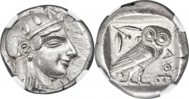 ATTICA. Athens. Ca. 465-455 BC. AR tetradrachm (24mm, 17.13 gm, 9h). NGC AU S 5/5 - 4/5. Head of Athena right, wearing crested Attic helmet ornamented...