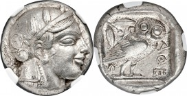 ATTICA. Athens. Ca. 465-455 BC. AR tetradrachm (24mm, 17.21 gm, 8h). NGC AU 4/5 - 5/5. Head of Athena right, wearing crested Attic helmet ornamented w...