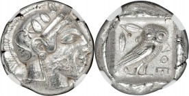 ATTICA. Athens. Ca. 465-455 BC. AR tetradrachm (24mm, 17.00 gm, 12h). NGC AU 3/5 - 4/5. Head of Athena right, wearing crested Attic helmet ornamented ...