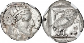 ATTICA. Athens. Ca. 465-455 BC. AR tetradrachm (26mm, 17.17 gm, 9h). NGC Choice VF 5/5 - 3/5. Head of Athena right, wearing crested Attic helmet ornam...