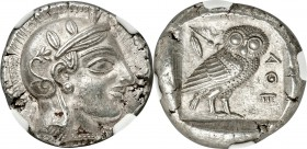 ATTICA. Athens. Ca. 455-440 BC. AR tetradrachm (24mm, 17.09 gm, 10h). NGC Choice AU S 5/5 - 5/5. Early transitional issue. Head of Athena right, weari...