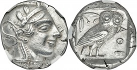 ATTICA. Athens. Ca. 455-440 BC. AR tetradrachm (23mm, 17.15 gm, 1h). NGC Choice AU S 5/5 - 4/5. Early transitional issue. Head of Athena right, wearin...