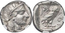 ATTICA. Athens. Ca. 455-440 BC. AR tetradrachm (24mm, 17.15 gm, 5h). NGC Choice AU 5/5 - 4/5, Fine Style. Early transitional issue. Head of Athena rig...
