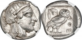 ATTICA. Athens. Ca. 455-440 BC. AR tetradrachm (23mm, 17.17 gm, 1h). NGC Choice XF S 5/5 - 5/5. Early transitional issue. Head of Athena right, wearin...