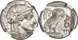 ATTICA. Athens. Ca. 440-404 BC. AR tetradrachm (24mm, 17.20 gm, 3h). NGC Choice MS 5/5 - 5/5. Mid-mass coinage issue. Head of Athena right, wearing cr...