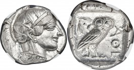 ATTICA. Athens. Ca. 440-404 BC. AR tetradrachm (27mm, 17.21 gm, 10h). NGC Choice MS 5/5 - 5/5. Mid-mass coinage issue. Head of Athena right, wearing c...