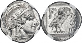 ATTICA. Athens. Ca. 440-404 BC. AR tetradrachm (25mm, 17.20 gm, 9h). NGC MS S 5/5 - 5/5. Mid-mass coinage issue. Head of Athena right, wearing crested...