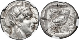 ATTICA. Athens. Ca. 455-440 BC. AR tetradrachm (24mm, 17.20 gm, 7h). NGC MS 5/5 - 2/5, test cut. Early transitional issue. Head of Athena right, weari...