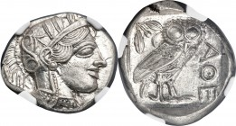 ATTICA. Athens. Ca. 440-404 BC. AR tetradrachm (27mm, 17.21 gm, 4h). NGC MS 5/5 - 5/5. Mid-mass coinage issue. Head of Athena right, wearing crested A...