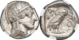 ATTICA. Athens. Ca. 440-404 BC. AR tetradrachm (25mm, 17.19 gm, 2h). NGC MS 5/5 - 5/5. Mid-mass coinage issue. Head of Athena right, wearing crested A...