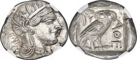 ATTICA. Athens. Ca. 440-404 BC. AR tetradrachm (25mm, 17.21 gm, 12h). NGC MS 5/5 - 5/5. Mid-mass coinage issue. Head of Athena right, wearing crested ...