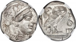 ATTICA. Athens. Ca. 440-404 BC. AR tetradrachm (23mm, 17.17 gm, 1h). NGC MS 5/5 - 5/5. Mid-mass coinage issue. Head of Athena right, wearing crested A...