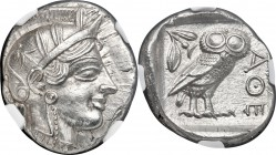 ATTICA. Athens. Ca. 440-404 BC. AR tetradrachm (24mm, 17.20 gm, 2h). NGC MS 5/5 - 5/5. Mid-mass coinage issue. Head of Athena right, wearing crested A...