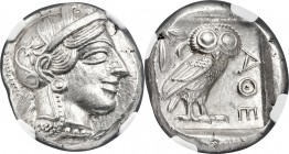 ATTICA. Athens. Ca. 440-404 BC. AR tetradrachm (23mm, 17.17gm, 7h). NGC MS 5/5 - 5/5. Mid-mass coinage issue. Head of Athena right, wearing crested At...