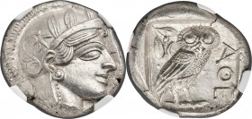 ATTICA. Athens. Ca. 440-404 BC. AR tetradrachm (25mm, 17.20 gm, 4h). NGC MS 5/5 - 5/5. Mid-mass coinage issue. Head of Athena right, wearing crested A...