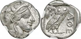 ATTICA. Athens. Ca. 440-404 BC. AR tetradrachm (25mm, 17.24 gm, 7h). NGC MS 5/5 - 5/5. Mid-mass coinage issue. Head of Athena right, wearing crested A...