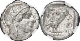 ATTICA. Athens. Ca. 440-404 BC. AR tetradrachm (24mm, 17.19 gm, 10h). NGC MS 5/5 - 5/5. Mid-mass coinage issue. Head of Athena right, wearing crested ...