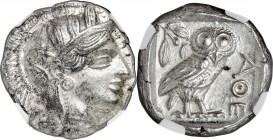 ATTICA. Athens. Ca. 440-404 BC. AR tetradrachm (25mm, 17.19 gm, 4h). NGC MS 5/5 - 4/5. Mid-mass coinage issue. Head of Athena right, wearing crested A...