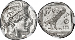 ATTICA. Athens. Ca. 440-404 BC. AR tetradrachm (25mm, 17.20 gm, 7h). NGC MS 5/5 - 4/5. Mid-mass coinage issue. Head of Athena right, wearing crested A...