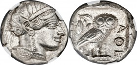 ATTICA. Athens. Ca. 440-404 BC. AR tetradrachm (24mm, 17.19 gm, 11h). NGC MS 5/5 - 4/5. Mid-mass coinage issue. Head of Athena right, wearing crested ...