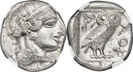 ATTICA. Athens. Ca. 440-404 BC. AR tetradrachm (24mm, 17.24 gm, 1h). NGC MS 5/5 - 4/5. Mid-mass coinage issue. Head of Athena right, wearing crested A...
