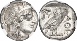 ATTICA. Athens. Ca. 440-404 BC. AR tetradrachm (23mm, 17.20 gm, 8h). NGC MS 5/5 - 4/5. Mid-mass coinage issue. Head of Athena right, wearing crested A...
