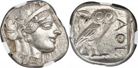 ATTICA. Athens. Ca. 440-404 BC. AR tetradrachm (25mm, 17.21 gm, 4h). NGC MS 5/5 - 4/5. Mid-mass coinage issue. Head of Athena right, wearing crested A...