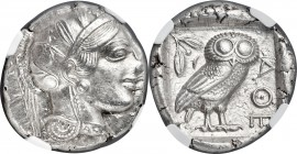 ATTICA. Athens. Ca. 440-404 BC. AR tetradrachm (25mm, 17.19 gm, 9h). NGC MS 4/5 - 5/5. Mid-mass coinage issue. Head of Athena right, wearing crested A...