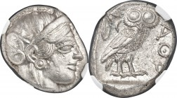 ATTICA. Athens. Ca. 440-404 BC. AR tetradrachm (23mm, 17.21 gm, 12h). NGC MS 4/5 - 5/5. Mid-mass coinage issue. Head of Athena right, wearing crested ...
