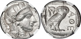ATTICA. Athens. Ca. 440-404 BC. AR tetradrachm (23mm, 17.20 gm, 10h). NGC Choice AU S 5/5 - 5/5. Mid-mass coinage issue. Head of Athena right, wearing...