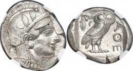 ATTICA. Athens. Ca. 440-404 BC. AR tetradrachm (23mm, 17.19 gm, 3h). NGC Choice AU S 5/5 - 4/5. Mid-mass coinage issue. Head of Athena right, wearing ...