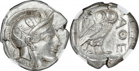 ATTICA. Athens. Ca. 440-404 BC. AR tetradrachm (24mm, 17.23 gm, 3h). NGC Choice AU 5/5 - 4/5, Full Crest. Mid-mass coinage issue. Head of Athena right...