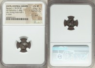 CENTRAL EUROPE. Helvetii. Ca. mid 1st century BC. AR quinarius (12mm, 1.48 gm, 4h). NGC Choice XF 3/5 - 3/5, scuff. NINNO, draped bust left / MAVC bel...