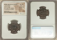 "SPAIN. Bolscan (Osca). Ca. 150-100 BC. AE (23mm, 5.60 gm, 3h). NGC Choice AU 5/5 - 3/5. Bearded head right; dolphin behind / ""BOLSKAN"" in Celt-Iberian..."