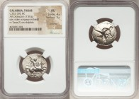 CALABRIA. Tarentum. Ca. 332-302 BC. AR stater or didrachm (23mm, 7.81 gm, 8h). NGC AU 4/5 - 3/5, brushed. Sa-, Her- and Hr, magistrates. Warrior on ho...