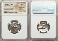 CALABRIA. Tarentum. Ca. 302-281 BC. AR stater or didrachm (22mm, 7.86 gm, 12h). NGC AU 5/5 - 2/5, graffito, brushed. Sa- and Kon-, magistrates. Nude h...